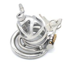 Anti Sex Belt Australia - Male Chastity Device Stainless Steel Bondage Cage with Urethral Catheter Penis Barbed Anti-off Ring Cock Cage Sex Toys for Men G242E