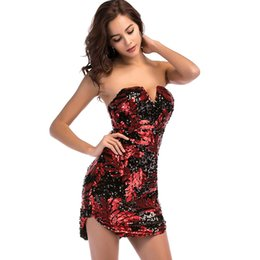 $enCountryForm.capitalKeyWord UK - Embroidery Red Sequins Summer Dress Women Sleeveless Strapless Sundress Sexy Nightclub Mini Bodycon Party Dress
