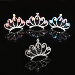 Hair Combs For Girls Australia - Children Hair Jewelry Baby Girls Rhinestone Tiara Headdress Crystal Princess Crown Combs Headwear Hair Accessories For Birthday Party