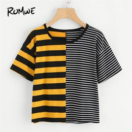 $enCountryForm.capitalKeyWord Australia - Romwe Contrast Striped Tee Summer Round Neck Short Sleeve Casual Female Top Multicolor Stretchy Crop T Shirt Q190524