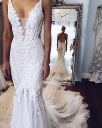 Short couture wedding dreSSeS online shopping - Pallas Couture Lace Floral Mermaid Beach Wedding Dresses Custom Made Pearls beaded V neck Full length Fishtail Bridal Wedding Gown