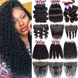 13x4 lace frontal malaysian 2019 - 9A Indian Virgin Hair Extension Water Deep Wave 3Bundles With Ear to Ear Lace Frontal Closure Human Hair Bundles With 13