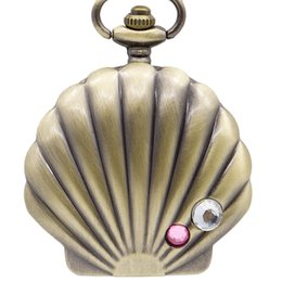 unique watches Australia - Mermaid Shell Pocket Watch Unique Glossy Metal Scallop Case Pendant Necklace Delicate Ladies Clock Beautiful Gifts for Girl Xmas