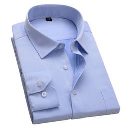 $enCountryForm.capitalKeyWord NZ - New Design Twill Cotton Pure Color White Business Formal Dress Shirts Men Fashion Long Sleeve Social Shirt Big Size 5xl 6xl SH190816