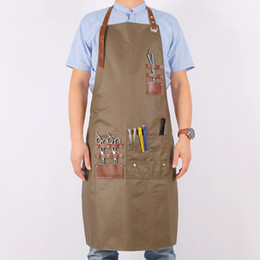chefs aprons for men 2019 - WEEYI Women Men Hairdresser Apron Cotton Bib Aprons Kitchen With Leather Straps Adult Apron For Work Barber Chef Drawing