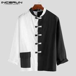 stand up collar shirts men Australia - INCERUN Chinese Shirt Men Patchwork Stand Collar Button Up Casual Long Sleeve Tops Vintage Cotton Traditional Shirts Men Clothes