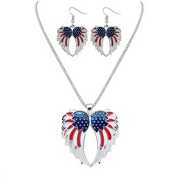 $enCountryForm.capitalKeyWord Australia - New Gold Silver Plated Independence Day USA Flag Patriotic Wings Design Women Necklace & Earrings Jewelry Set for Lady hot