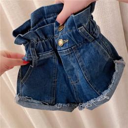 Wholesale Fashion kids denim hot shorts 2020 summer new girls ruffle high waist jean shorts children hole tassel casual cowboy short pants A2397