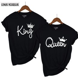 e93c6c12d 2018 NEW KING QUEEN Letter Printed Black Tshirts 2018 Summer Casual Cotton  Short Sleeve Tees Tops Brand Loose Couple