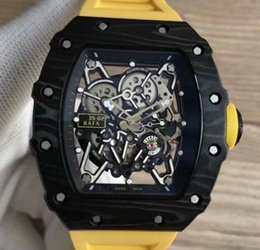 mens ribbon watch UK - Super Luxury 35-02 Rafael Nadal TPT Carbon Fiber Case Skeleton Dial Miyota Automatic Mens Watches Yellow Rubber Men Wristwatches Top