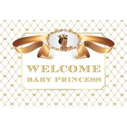 $enCountryForm.capitalKeyWord UK - Happy Birthday Backdrop for Baby Shower Printed Gold Crowns Ribbon Customized Texts Princess Girl Party Themed Photo Background