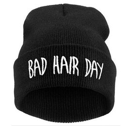 $enCountryForm.capitalKeyWord NZ - Trending Rare 100% Fashion Skullies Beanies Men Women Bad Hair Day Letter Embroidery Hats Winter warm Hat