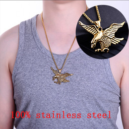 eagle pendant stainless NZ - mens eagle silver necklaces stainless steel fashion animal necklace pendants hip hop gold chains necklace large jewelry for neck