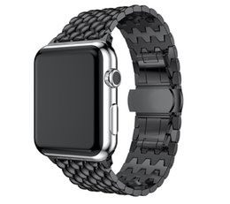 banded watches NZ - butterfly clasp stainless steel band bracelet dragon pattern for Apple Watch series 4 3 2 1 with adapter connector