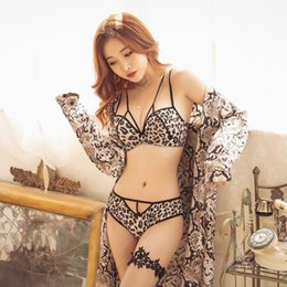 Design Straps Bra Australia - 2019 Summer Women Underwear Push Up Bra Set Sexy Leopard Floral Print Design Seamless Deep-V Adjusted-straps Bra Briefs Set