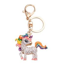 $enCountryForm.capitalKeyWord Australia - Fashion animal crystal horse keychain rhinestone keyring bag charm pendant hanger jewelry for women handmade dropshipping