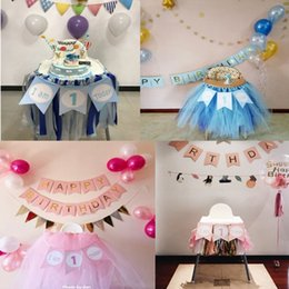 2 Pcs Paper Childrens First Year Old Chair Pull Flag I Am 1 Today Fish Tail Banner Baby Birthday Decorations