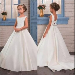 Birthday Party T Shirts Australia - Satin Princess Dress Flower Girl Dress with Bow Buttons Train Backless Kids Formal Wear Girls Birthday Party Dress Pageant Gown