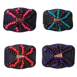 Hair pin comb clip online shopping - Fashion Retro Double Beaded Hair Magic Comb Clip Beads Elasticity Hairpin Stretchy Hair Combs Pins For Women Accessories