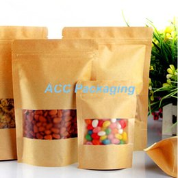 free kraft paper Australia - Free Shipping 9cmx14cm 50Pcs Lot Matte Window Kraft Paper Glossy Doypack Packing Pouch Nut Bean Ziplock Food Storage Package Bag