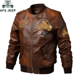 $enCountryForm.capitalKeyWord Australia - 2019 Embroidery Bomber Pilot Leather Jacket Men Plus SIze 5XL Outdoor Tactical Vintage Motorcycle Pu Leather Baseball Coat Jaqueta Couro