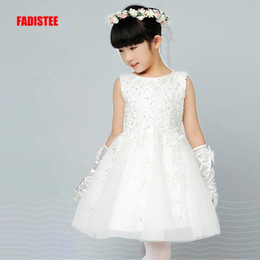 Girls Wearing Pretty Dresses Australia - FADISTEE New Arrival pink Tulle Pretty Flower Girl Dresses soft lace Baby Girl Infant lace Dress Kids Formal Wear beads lace free shipping