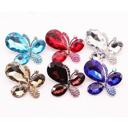 lead crystal christmas ornament Canada - Fund Alloy Crystal Butterfly Brooch Lead Needle Clothing Parts Ornaments