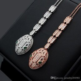 $enCountryForm.capitalKeyWord NZ - High Quality CNC CZ Stone Setting Wholesale Men Women Snake Head Design Pendant Necklace Best Gift Male Female Luxury Brand Necklace Jewelry