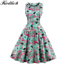 vintage swing Australia - Kostlich Flamingo Print Summer Dress Women 2018 Sleeveless Swing 50s Hepburn Vintage Tunic Dress Ukraine Party Dresses Sundress Y190427