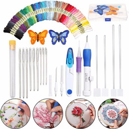 tool magic Canada - Magic Embroidery Pen Embroidery Needle Weaving Tool Patterns Punch Needle Kit Craft Tool Threads For DIY Sewing Tools