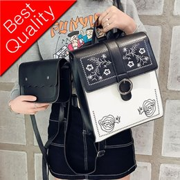 Styles Backpacks Australia - School Backpacks Style Fashion Women Backpack 2018 PU Leather Embroidered Shoulder bag Teenage Girl High Quality Travel Rucksack