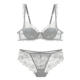 42d bras sets Australia - New 2019 lace sexy deep V-neck thin cotton cup fashion transparent bra and panty lash push up underwear Comfortable Brassiere sets