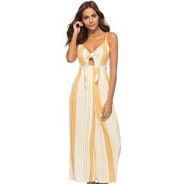 e3ae1161ed1 Sexy Women Sleeveless Striped Jumpsuit Plunge V-Neck Backless Overalls for  women Wide Leg Pants Casual Romper Loose Trousers