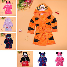 kids robes children NZ - Cute Girls Bathrobe Baby Cartoon Night Gown Boys Robes Belt Bath Children Sleeping Wear Clothing Kids Baby Winter Casual Clothes 7 Styles