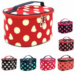 $enCountryForm.capitalKeyWord Australia - Korean Style Cosmetic Makeup Bags Barrel Shape Wash Bag Dot Love Print Travel Make Up Bags Organizer Large Capacity Zipper Storage Pouch Bag
