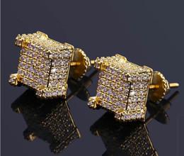 $enCountryForm.capitalKeyWord Australia - Fashion Screw back CZ Earrings Stud Men Brand Designer Hiphop Jewelry Gold Silver Zircon Pierced Ear Stud Jewellry Wholesale