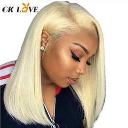blonde lace front wigs bob Australia - OKLove #613 Blonde Short Bob Wigs 150% Density 8-16 inch Brazilian Remy Straight 13x4 Lace Front Human Hair Wigs for Black Women