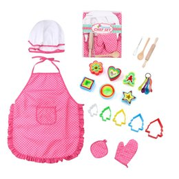 Cotton Set Aprons Australia - Brand New Kids Cooking And Baking Sets Apron Dress Up Chef Costume Career Role Cooking Mould Tools Gloves Set