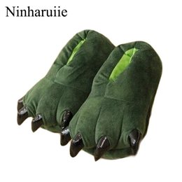 Chinese  Funny Winter Spring Family Matching shoes thickening antiskid fluffy kids slippers coral fleece dinosaur shoes girl boys manufacturers