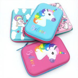 Box student pencil online shopping - 17styles D Unicorn Pencil Case cartoon flamingo mermaid cake Embossed Hardtop Pencil Case kids student large Pen Holder Box FFA1548