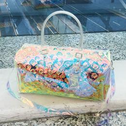 Ladies transparent handbags online shopping - Laser geometric handbag transparent luggage bag colorful travel bags women totes handbag duffle bag summer beach gym handbags FFA1988