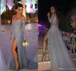 Wholesale grey slit dress resale online - 2019 Sexy Off the Shoulder Evening Dresses Long Sleeves Grey Sexy High Slit Split A Line Lace Applique Sequins Formal Prom Party Dress