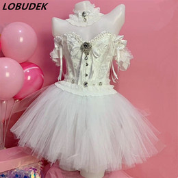 club clothes bar UK - Women Singer Dance Bar Club Performance Stage Costume White Pearl Crystal Tops Mesh LED Mini Skirt Outfit Bar Party Show Clothes