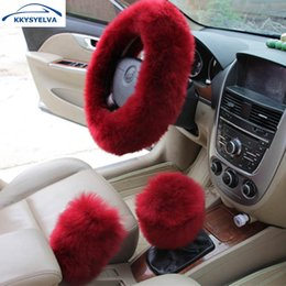 black fur steering wheel cover Australia - KKYSYELVA Fur Car Steering wheel covers Winter heated Steering Wheel Cover Interior accessories Car Seat covers