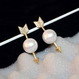 UniqUe stUd earrings for girls online shopping - Very cool ins fashion designer unique funny punk style arrow pearl stud earrings for woman girls