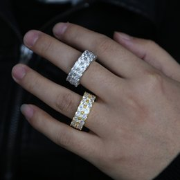 Hip Wedding Rings NZ - High quality vintage punk ring for men women fashion hip hop double rings fulfill round cz wedding jewelry for boyfriend's gifts