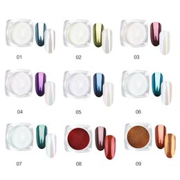 mirror beads 2019 - 9 Color Glitter Aluminum Flakes Magic Mirror Effect Shell Powders Sequins Nail Opal Rhinestones half beads manicure sets