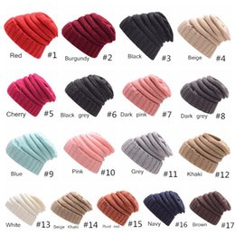 China Beanies hats Knitted Bonnet Fashion Visor Cup Girls Women Winter Warm Hat Weave Gorro Hat Casual Beanies 17 Colors supplier winter visor beanies suppliers