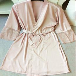 $enCountryForm.capitalKeyWord NZ - Sexy Ladies' Lace Satin Robe Gown Solid Soft Nightgown Nightwear Kimono Bathrobe Sleepwear Wedding Bride Bridesmaid Robes