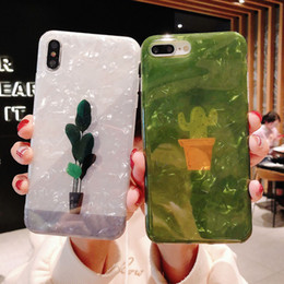 cell phone technologies Australia - For Iphone X Xr Xs Max 6 7 8 Plus Phone Cases Seashell Green Cactus IMD Technology TPU Soft Translucent Cell Phone Case